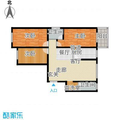 阳光嘉苑148.00㎡G户型:三室两厅两卫户型3室2厅2卫