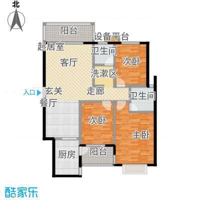 华富世家110.00㎡两室两厅一卫双阳台户型2室2厅1卫