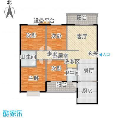 华富世家178.00㎡四室两厅一厨两卫户型4室2厅2卫