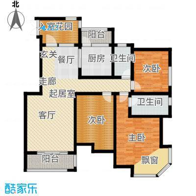 紫薇壹㎡142.30㎡B1户型 三室两厅两卫 142.30㎡户型3室2厅2卫