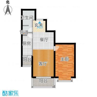 五栋大楼87.32㎡一室二厅一卫户型