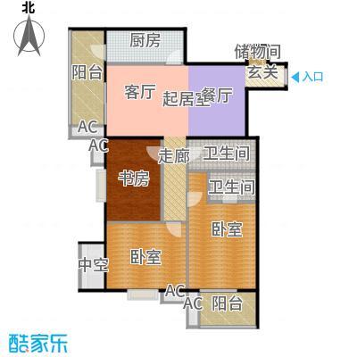 瑞丽江畔三室一厅两卫户型