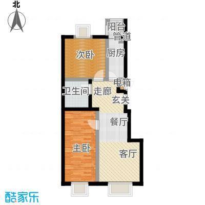 天恒乐活城D579.00㎡E户型 两室两厅一卫户型2室2厅1卫
