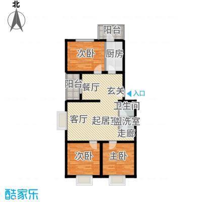 飞腾温泉家园106.97㎡3室2厅1卫1厨户型