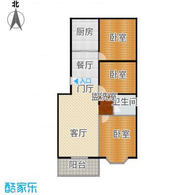 碧波园温泉家园115.44㎡3室2厅1卫户型