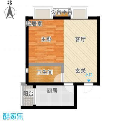 保利欣苑44.10㎡1、5号楼A户型一室一厅一卫户型