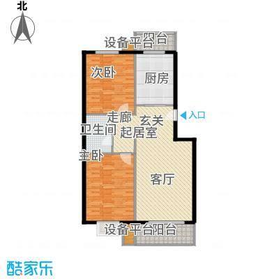 昊腾花园15#B已售完户型2室1卫1厨