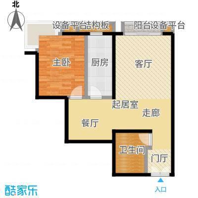 风景Club81.99㎡15号楼G-1平层高厅户型一室二厅一厨一卫户型