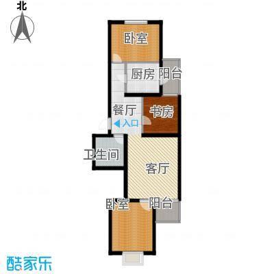 飞腾家园91.37㎡三室两厅一卫户型