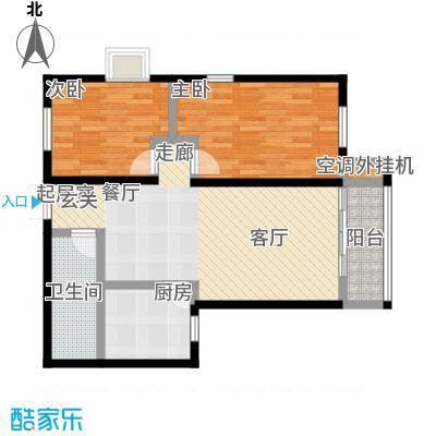 远洋自然10B4号楼户型两室两厅一卫户型