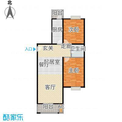 圣淘沙108.39㎡2号楼F户型二室二厅一卫户型