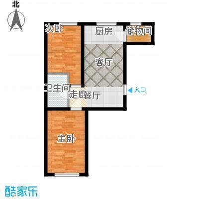 博达英郡R户型两室两厅一卫71.52-73.77平户型