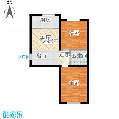 博达英郡B户型两室两厅一卫64.2-71.91平户型