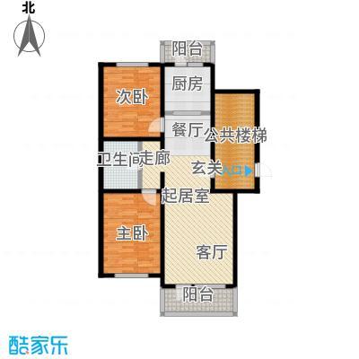 新华联家园102.00㎡二室二厅一卫户型