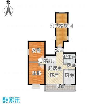 新华联家园90.00㎡二室二厅一卫户型