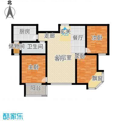紫薇壹㎡126.31㎡G8户型 三室两厅一卫 126.31㎡户型3室2厅1卫