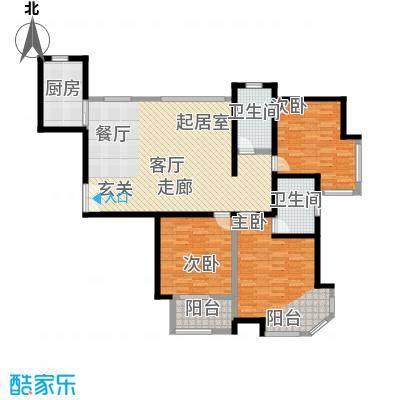 紫薇G三室两厅两卫140.50平方米户型-T