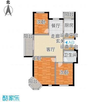 书香雅居117.00㎡三室两厅一厨一卫户型3室2厅1卫