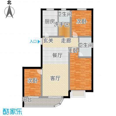书香雅居130.00㎡三室两厅一厨两卫户型3室2厅2卫