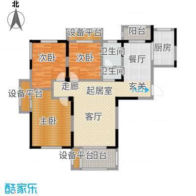 建业森林半岛118.00㎡三室两厅一卫户型