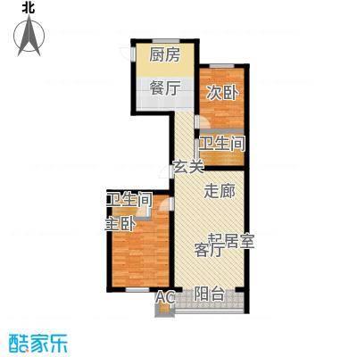 翔达・江湾御景两室两厅两卫125.86㎡户型2室2厅2卫-T