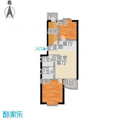自然佳境87.07㎡1#楼丁户型2室2厅1卫户型