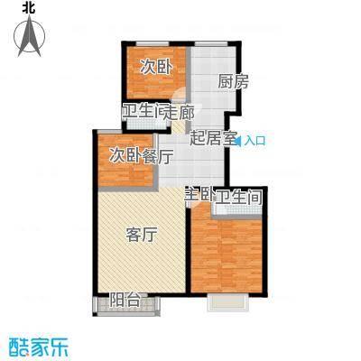 世纪龙鼎118.89㎡3室2厅2卫1厨户型