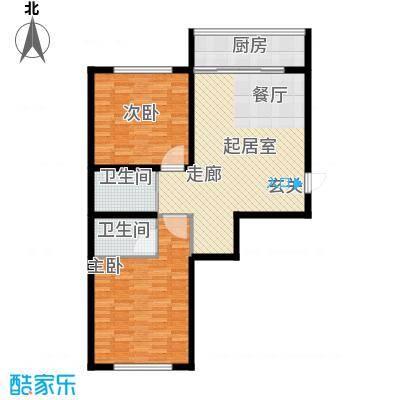 华天锦湖东郡华天・锦湖东郡两室一厅两卫92.43平米户型图户型2室1厅2卫