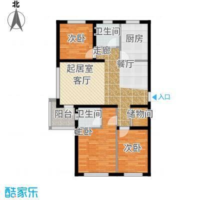 万升前城国际102.08㎡三室二厅二卫102.08平米户型3室2厅2卫