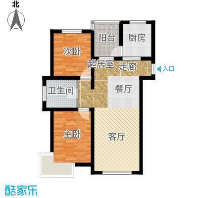 万升前城国际96.88㎡二室二厅一卫96.88平米户型2室2厅1卫
