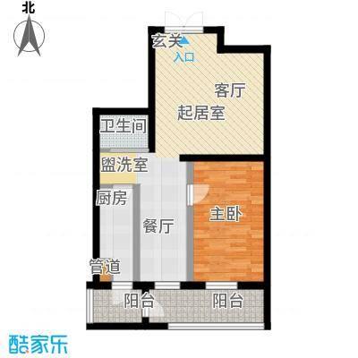 鑫隆帝豪72.55㎡鑫隆帝豪面积72.55平米一室两厅一卫户型图户型1室2厅1卫