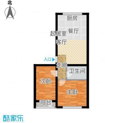万升前城国际74.77㎡二室二厅一卫74.77平米户型2室2厅1卫