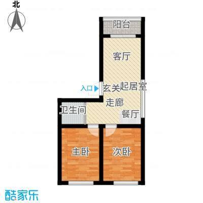 隆泰碧水山城64.00㎡隆泰・碧水山城F2两室一厅一卫约64平米户型图户型2室1厅1卫