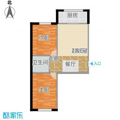望云山景76.62㎡望云山景两室两厅一卫一厨76.62平米户型2室2厅1卫
