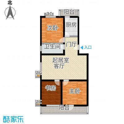 幸福艺居(二期)104.81㎡三室两厅一卫户型