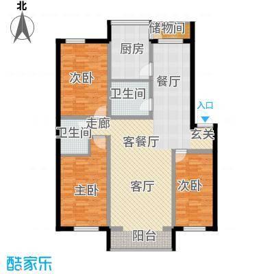 嘉业紫荆花3室2厅2卫1厨139.00㎡户型3室2厅2卫