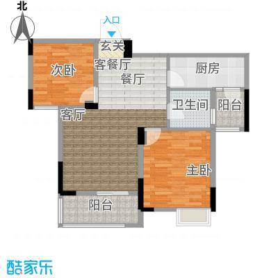 吉东托斯卡纳H1户型两室两厅一卫85.49-88.84平户型2室2厅1卫