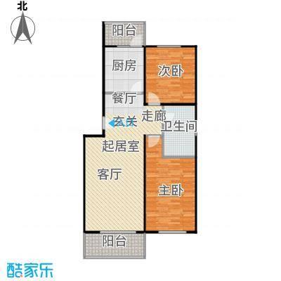 华飞园88.68㎡二室二厅一卫户型
