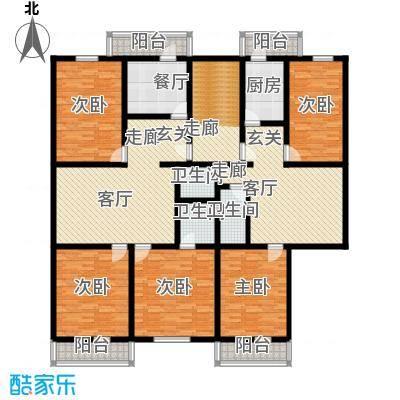 清新家园120.64㎡三室一厅两卫户型