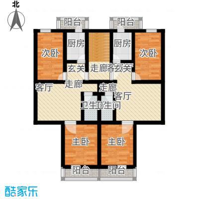 清新家园91.23㎡两室一厅一卫户型