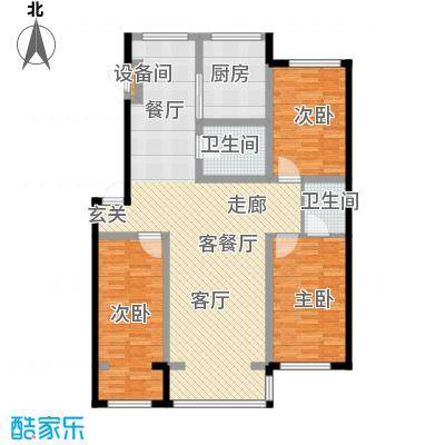 嘉业紫荆花3室2厅2卫1厨126.00㎡户型