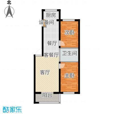 嘉业紫荆花2室2厅1卫1厨89.00㎡户型2室2厅1卫