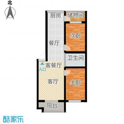 嘉业紫荆花2室2厅1卫1厨88.00㎡户型2室2厅1卫