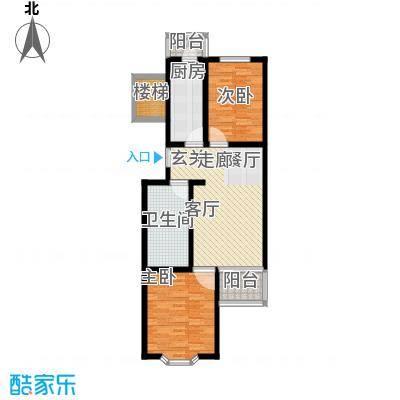 翠福园86.00㎡33号楼a两室两厅一卫左户型