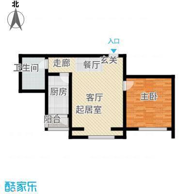 豪隆福顺江山66.89㎡1室2厅1卫1厨66.89㎡户型1室2厅1卫