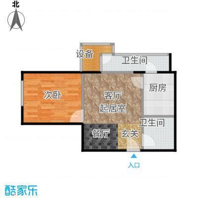 葵花社58.64㎡A户型一室两厅一卫户型