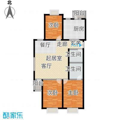 格瑞雅居144.20㎡N户型三室两厅两卫户型