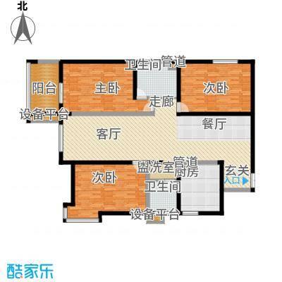 阳光嘉苑152.00㎡D户型:三室两厅两卫户型3室2厅2卫