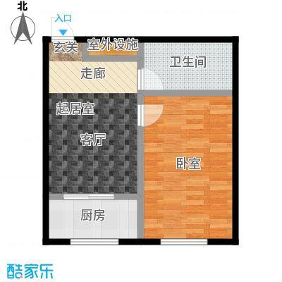 恒大世家公馆嘉寓观山一室一厅一卫面积61.78平米户型图户型1室1厅1卫