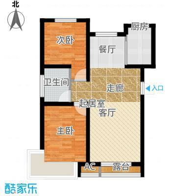 红大领域J户型81平米两室两厅一卫户型图户型2室2厅1卫